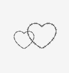 two shapes of heart silhouette of barbed wire vector image
