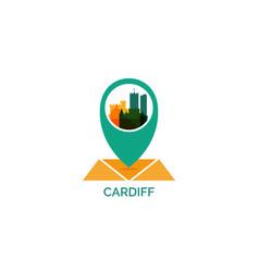 uk cardiff map pin logo llustration vector image