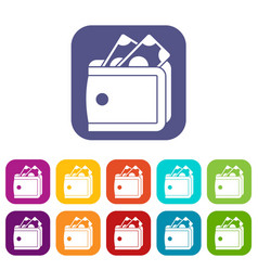 Wallet with cash icons set vector