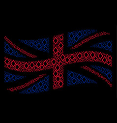 waving united kingdom flag pattern of contour vector image