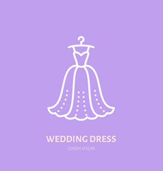 wedding dress on hanger icon clothing shop line vector image