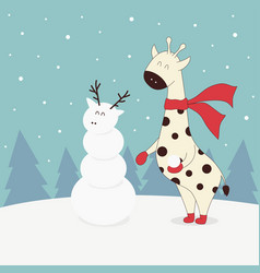 winter with giraffe vector image