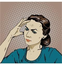 Woman in stress has headache vector image