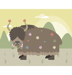 Yak in mountains vector image