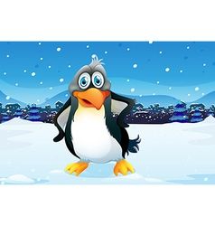 A penguin across the village vector image vector image