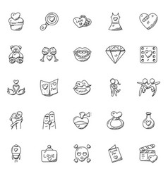 doodle icon set of romance and valentine gifts vector image