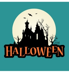 halloween logo haunted mansion vector image vector image