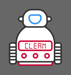 Robot machine for cleaning isolated on grey vector