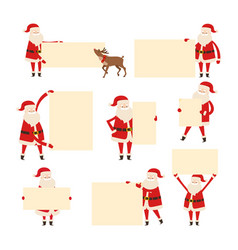 santa with empty banner isolated on white vector image vector image