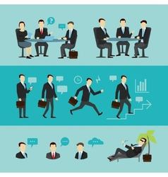 Teamwork set interview flat vector image