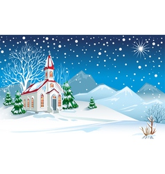 winter landscape with church vector image vector image