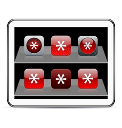 Asterisk red app icons vector image vector image
