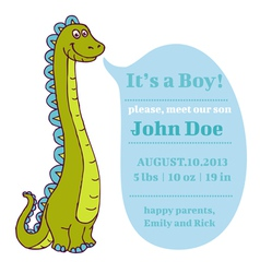 Baby Shower and Arrival Card - Dino Theme vector image