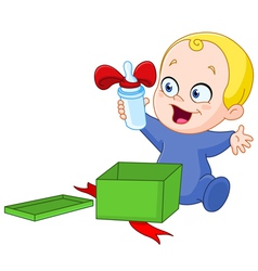 baby with christmas gift vector image