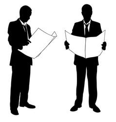 Businessmen reading newspapers vector