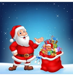 Cartoon funny Santa with sack on a night sky vector image vector image