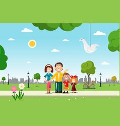 family in city park vetor flat design vector image