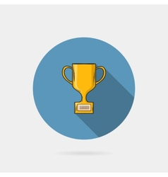 Flat trophy cup on a blue circle conceptual of vector