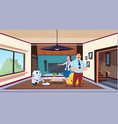 man and woman looking at robot housekeeper vector image vector image