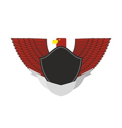 Red Eagle on military emblem Bird with wings and vector image
