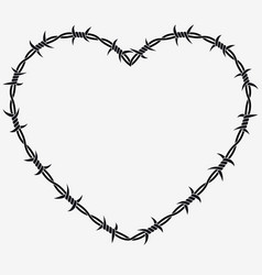 Shape of heart silhouette of barbed wire vector