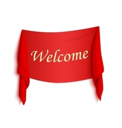 Welcome red realistic sticker vector image