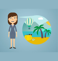 woman dreaming about his vacation vector image vector image