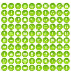100 audio icons set green circle vector image vector image