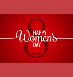 8 march banner womens day line on red background vector image vector image