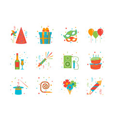 cartoon happy birthday party color icons set vector image