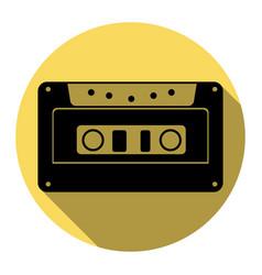 cassette icon audio tape sign flat black vector image