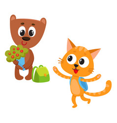 cute animal student characters bear holding vector image vector image