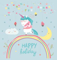 cute unicorn walking on the rainbow vector image vector image