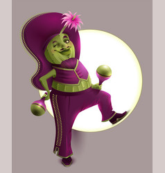 Green cactus male in mexican national clothes vector