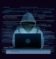 hacker with laptop hacking vector image vector image