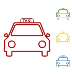 Taxi sign Set of line icons vector image