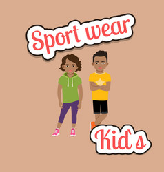 african children in sport wear style vector image vector image