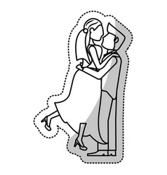 couple wedding romantic outline vector image vector image