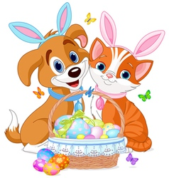 Easter cat and dog vector