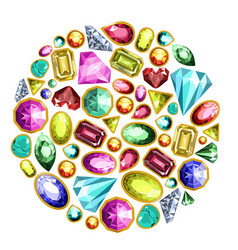 gems and diamonds isolated icons set vector image