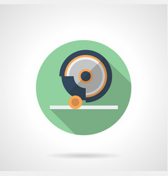 grinding machine flat green round icon vector image vector image