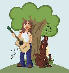 Guitarist plays acoustic guitar and dog howls and vector image vector image