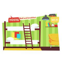 room in hostel bed and breakfast vector image