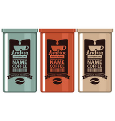 set labels coffee in iron banks with grain and cup vector image vector image