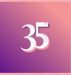 35 years anniversary rainbow number template vector