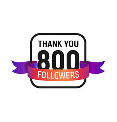 800 followers number with color bright ribbon vector image