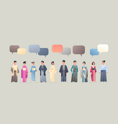 Asian men women wearing traditional clothes chat vector