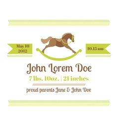 Baby Shower and Arrival Card - Horse Theme vector image
