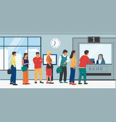 bank queue people standing in row to bank worker vector image