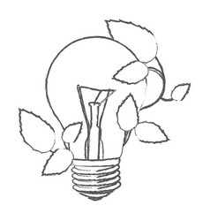 bulb with leaves leaves icon vector image